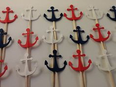 Red, White & Blue Anchor Cupcake Toppers - Set of 24 - Nautical Theme Party, Naval Theme Party, Party Decorations on Etsy, $3.50