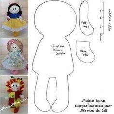 Discover thousands of images about Molde base corpo boneca de pano - doll pattern DIY Fabric Doll Pattern, Doll Sewing Patterns, Sewing Dolls, Doll Clothes Patterns, Sock Dolls, Felt Dolls, Crochet Dolls, Rag Dolls, Doll Crafts