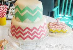 DIY Chevron Birthday cake