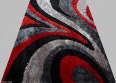 Shag Shaggy Modern Black Red Grey 5x8 Area Rug Actual Size 5'1 x 6'11