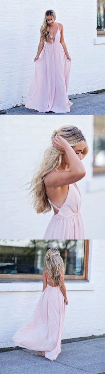 simple pink long prom dress, cute pink evening dress for teens