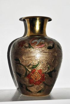 Solid Brass Vintage Cloisonne Vase Made In by GinasCornerCrafts, $35.99 #PFTpin2win