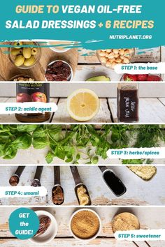 Here's a step-by-step guide of how to make vegan oil-free salad dressings + 6 oil-free salad dressing recipes. #oilfreesaladdressing #oilfreesaladdressingvegan #oilfreesaladdressingrecipes #veganoilfreesaladdressing #healthysaladdressing #saladdressingguide #saladdressingrecipeshealthy Best Vegan Recipes, Clean Recipes, Whole Food Recipes, Oil Free Salad Dressing, Salad Dressing Recipes, Vegan Meal Prep, Vegan Vegetarian, Candida Diet Recipes, Easy Summer Salads