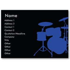 Drummer Cymbals And Toms Grey Business Card Drummers Cards