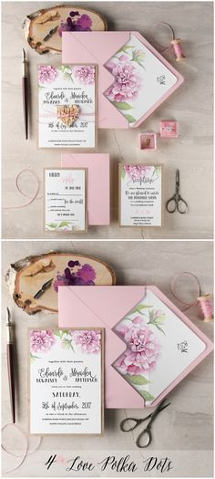 Pink Peony Rustic Wedding Invitation with birch bark wooden heart tag #sponsored