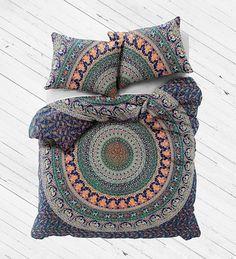 Twin Cotton Duvet Cover with 2 pillows Indian Mandala Bedding Set - Divya