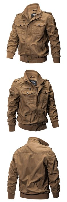 US$63.99 + Free shipping. Size: XS~4XL. Color: Khaki, Green, Black. Fall in love with casual and outdoor style! Autumn Outdoor Tactical Washed Cotton Plus Size XS-4XL Epualet Military Jackets for Men. #jackets #mens