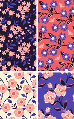 by karla pruitt Motifs Textiles, Textile Prints, Textile Patterns, Flower Pattern Design, Surface Pattern Design, Flower Patterns, Botanical Prints, Floral Prints, Collage Kunst