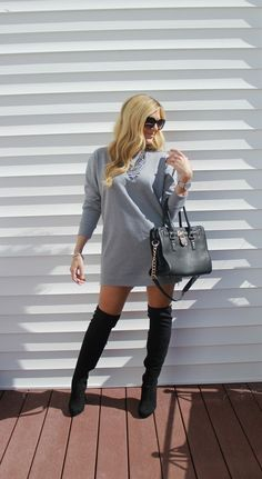 Outfitted411: Side Zipped...sweater dress, black OTK boots, black satchel bag