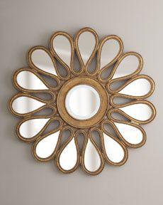 Gold-Leafed Sunburst mirror at Horchow. Mirror Art, Floor Mirror, Sun Mirror, Mirror Ideas, Metal Walls, Metal Wall Art, Roman Clock, 3d Cnc, Mirrored Furniture