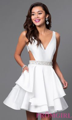 Shop for cut-out prom dresses at PromGirl. Short homecoming dresses with cut-outs, cut-out prom gowns, and cut-out cocktail party dresses. Short Semi Formal Dresses, Semi Dresses, Prom Dresses 2015, Long Prom Gowns, Trendy Dresses, Short Dresses, Party Dresses, Dress Formal, White Semi Formal Dress