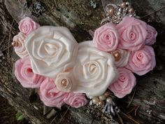 Pink Roses Flower  Statement Bib Necklace by RosesForClementine, $38.00 pretty!