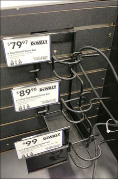 DeWalt Three-Tier Price Strategy – Fixtures Close Up Price Strategy, Differentiation, Gun, Families, Retail, Place Card Holders, Black, Color, Black People