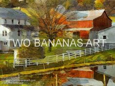 #221 AMISH FARM REFLECTED IN POND Limited edition of ten 18x24 prints. $185.00 Painting by Two Bananas Art artist Richard Neuman. Inspired by a photo he took in Holmes County, Ohio. Each giclee print is digitally signed, dated, numbered, with a certificate of authenticity. Your gallery wrapped, stretched canvas print is ready to hang. SHIPPED FREE! #art #architecture #colorful #semi #abstract #amish #landscape #print