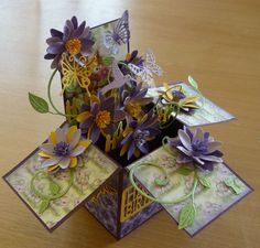 What wonderful entries we had last week. The winner of our Pretty in Purple Challenge is Katie Craig Congratul. Fun Fold Cards, Folded Cards, Diy Cards, Box Cards Tutorial, Card Tutorials, Side Step Card, Exploding Box Card, Purple Cards, Pop Up Box Cards