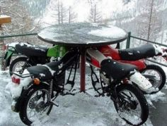 Repurposed Car Parts - Motorcycle table
