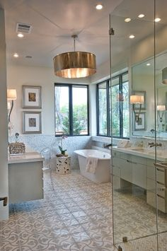 Unusual lighting for bathroom.. looks gorgeous.