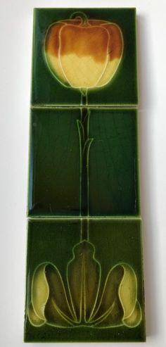 "Original Antique Art Nouveau Majolica 3 x 3"" Tiles Godwin C1905 #ArtNouveau"