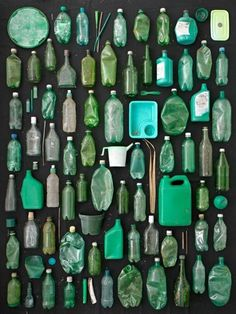 not green bottles, but example of a collection of things on the wall