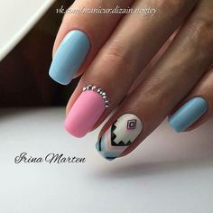 Beautiful nails 2017, Geometric nails, Nails for September 1, Nails with rhinestones, Pattern nails ideas, Pink and blue nails, School nails, Summer autumn nails 2017