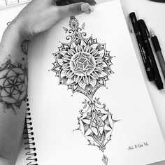from @mi_li3_art -  Calf dotwork mandala tattoo design :) #miletune #art…
