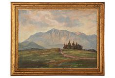 """Very finely painted landscape with remarkable layering. Signed """"L. Prinz,"""" lower left. Displayed in a giltwood frame."""