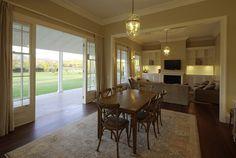 Scone Farmhouse, traditional Australian country farm house, Hunter Valley, verandah, open plan lounge and dining