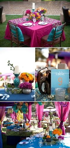 indian wedding Jewel Tones and Centerpieces Indian Inspired Wedding I prefer pink table blue pillows purple center pieces Indian Wedding Decorations, Wedding Themes, Wedding Colors, Indian Decoration, Wedding Parties, Outdoor Decorations, Trendy Wedding, Our Wedding, Dream Wedding