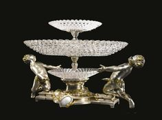 Christofle et Cie.  A parcel-gilt, silvered bronze and cut glass centerpiece  Paris, late 19th/early 20th century