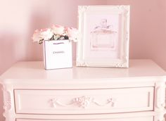Shabby chic bedroom, roses, Chanel, pink roses, dior, miss Dior, perfume, illustration