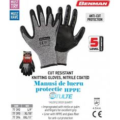 Manusi protectie HPPE si fibra de sticla + nitril,tricotate,marime XXL,11 - benman - stulte.ro Knitted Gloves, Latex, Finger, Coding, Knitting, Fiber, Tricot, Stricken, Knitwear
