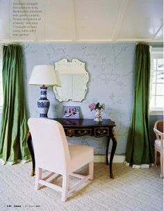 Loving these emerald curtains!