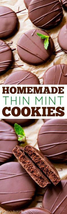 Homemade Girl Scout thin mint cookies to enjoy all year long! Chocolate mint cookies recipe http://sallysbakingaddiction.com/2016/03/09/homemade-thin-mint-cookies/