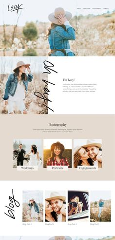 The Lacy Squarespace Template Kit is a feminine and modern design, with a bit of farmhouse flare. The large, parallax images and handwritten lettering give it a Website Design Inspiration, Blog Website Design, Website Layout, Design Blog, Brand Inspiration, Website Ideas, Design Ideas, Ecommerce, Photography Website Design