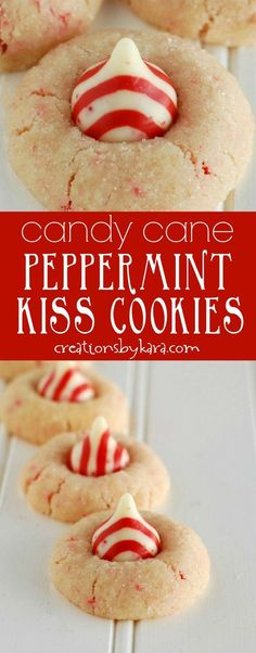 Candy Cane Peppermint Kiss Cookies- with crushed peppermint candies in the dough and a peppermint kiss on top, these yummy mint cookies are perfect for Christmas! via cre