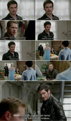 """""""Did she say anything about the method? If it was a spell or magic object of some kind."""" Hook and David - 4 * 8 """"Smash the mirror"""" #CaptainCharming"""