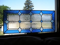 Vintage Stained Glass Window Blue 3 Jewel Craftsman Style Panel.