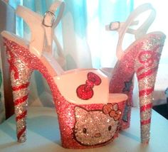 Cool High Heels, Stripper Heels, Cute Phone Cases, Girly Things, Girls Shoes, Girl Fashion, Fashion Shoes, Hot Pink, Hello Kitty