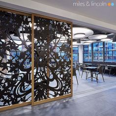 Laser cut screens - Sliding doors in Maple design by Miles and Lincoln. www.milesandlincoln.com
