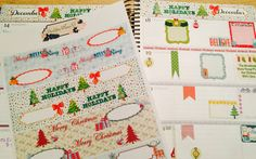 HORIZONTAL Erin Condren Life Planner Month Header/ Prism Banner Covers, Christmas themed, Set of 4 by OnceUponAPlannerNJ on Etsy