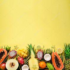 Exotic fruits and tropical palm leaves on pastel yellow background - papaya, man , Photographers Near Me, Exotic Fruit, Pastel Yellow, Yellow Background, Top View, Kiwi, Pineapple, Mango, Palm