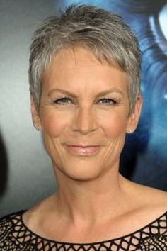 Jamie Lee Curtis with short, grey, gorgeous hair.