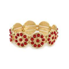 Shyanne® Women's Red & Gold Medallion Bracelet