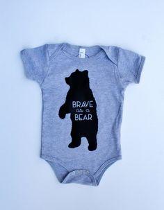 Brave as a Bear  Screenprint Baby Bear Onesie  by SavageSeeds