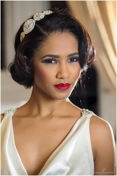 Stylish elegant wedding hair and make-up look. The Regent: Perfect Events Styled Shoot | Nu Bride bride, bride of colour | black bride. Modern vintage