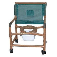 "Deluxe X-Wide Wood Tone Shower Chair - PVC -   Wood Tone PVC (Healthcare grade) that allows DME to be non-institutional looking. Extra-Wide. Healthcare grade deluxe elongated open front seat enhances resident comfort Anti-slip handigrips. Fast drying removable mesh back/sling. Reinforced at all stress related areas. Internal width: 26"". External width: 30"". Threaded stem casters: 4"" x 1""."