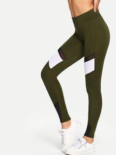 daee1770d2fbe Contrast Mesh Striped Skinny Leggings