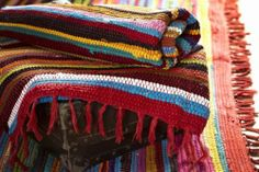 Handmade Indian Chindi Rug Fair Trade Loomed Multi Coloured Recycled 100% Cotton