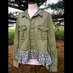 "Selling this ""Free People green ruffle studded Denim Jacket NWT"" in my Poshmark closet! My username is: richbororiches. #shopmycloset #poshmark #fashion #shopping #style #forsale #Free People #Jackets & Blazers"