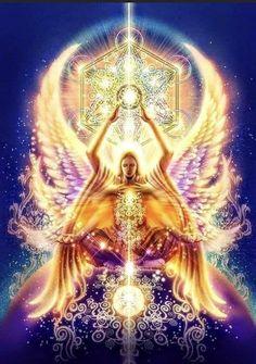 Sacred Geometry Art, Sacred Art, Art Visionnaire, You Are My Moon, Cosmic Art, Spirited Art, Archangel Michael, Visionary Art, Angel Art